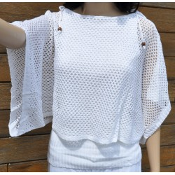 pull-châle maille blanc