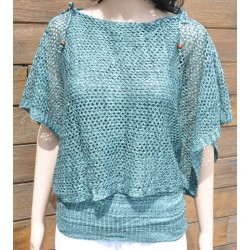 pull-châle maille turquoise