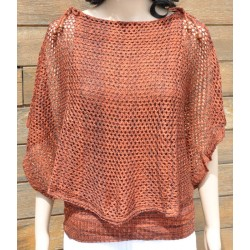 pull-châle maille orange