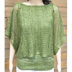 pull-châle maille vert