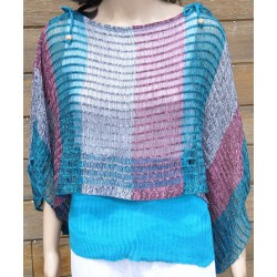 pull-châle turquoise et rose